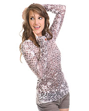 Junior BurnOut Checkered Flower Sublimation Crew Neck Long Sleeve at GotApparel