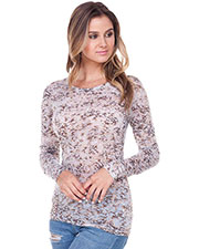Junior BurnOut Crystal Wash Twisted Crew Neck Long Sleeve at GotApparel