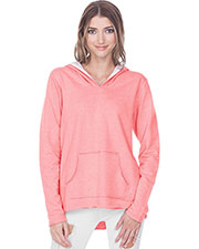 Juniors French Terry Raw Edge High-Low Long Sleeve Lined Hoodie at GotApparel