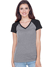 Junior Sheer Jersey Contrast V Neck Raglan Short Sleeve at GotApparel