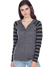 Juniors  Striped Jersey Contrast Raglan Long Sleeve Zip Hoodie. at GotApparel
