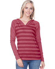 Juniors 2XL Striped Jersey Raglan Long Sleeve Hoodie at GotApparel