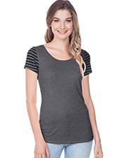 Juniors Striped Jersey Multi Contrast Short Sleeve at GotApparel