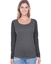Juniors Striped Jersey Multi Contrast Long Sleeve at GotApparel