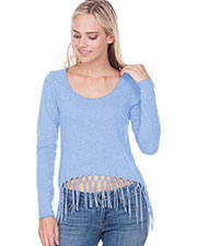 Juniors Sheer Jersey Scoop Neck Macrame Fringe Asymmetrical Long Sleeve at GotApparel