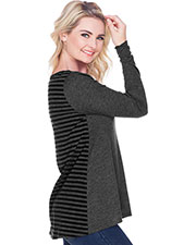 Juniors Contrast Mini Striped Back High Low Long Sleeves at GotApparel