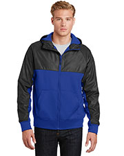 Sport-Tek JST50 Men Embossed Hybrid Full Zip Hooded Jacket at GotApparel