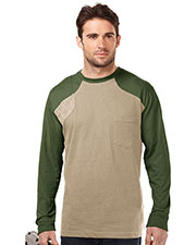 Tri-Mountain K086LS Men Woodruff Long Sleeve Shooter Tee With Contrast Quilted Patch at GotApparel
