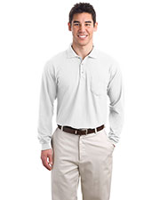 Port Authority K500LSP Men Long Sleeve Silk Touch™ Polo with Pocket at GotApparel