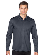 Tri-Mountain K519 Men Knit Jacquard Button-Down Shirt at GotApparel