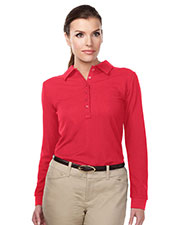 TRI-MOUNTAIN PERFORMANCE KL103LS Women Knit Long Sleeve Golf Shirt at GotApparel
