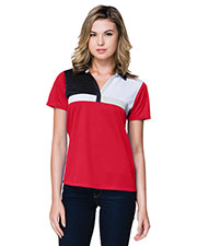 Tri-Mountain KL109 Women Gold Marquis Color Block Polo Shirt at GotApparel