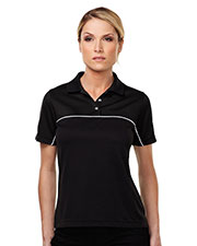 TMR KL908 Women Double Clutch Color Blocking Short Sleeve Polo Shirt at GotApparel