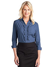 Port Authority L644 Women Crosshatch Ruffle Easy Care Shirt at GotApparel