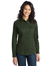 Port Authority L649 Women Stain Resistant Roll Sleeve Twill Shirt at GotApparel