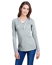 LAT LA3538 Ladies Long-Sleeve Lace Up T-Shirt at GotApparel