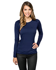 LILAC BLOOM LB008 Women Colette Long Sleeve Crew Neck Shirt at GotApparel