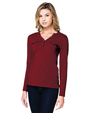 Tri-Mountain LB144 Women Hannah Long Sleeve Open Henley Shirt With Moisture Wicking at GotApparel
