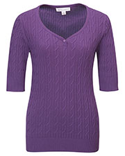 LILAC BLOOM LB921 Women Layla Cable Short Sleeves Sweater at GotApparel