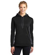 Sport-Tek LST235 Women Sport-Wick Fleece Colorblock Hooded Pullover at GotApparel