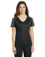 Sport-Tek LST354  ® Ladies Posicharge® Competitor? Sleeve-Blocked V-Neck Tee. at GotApparel