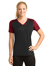 Sport-Tek LST371 Women's CamoHex Colorblock V-Neck Tee at GotApparel