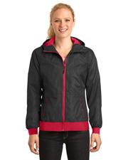 Sport-Tek® LST53 Women   Embossed Hooded Wind Jacket at GotApparel