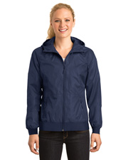 Sport-Tek LST53  ®  Ladies Embossed Hooded Wind Jacket. at GotApparel