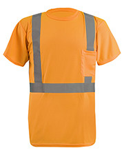 OccuNomix LXSSETP Men LUX-SSETP2B-Orange and Yellow Sizes Reflective Pocket T-Shirt at GotApparel