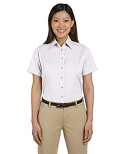 Harriton M500SW Women Easy Blend short sleeve Twill Shirt with StainRelease at GotApparel