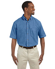 Harriton M550S Men 6.5 oz. short sleeve Denim Shirt at GotApparel
