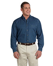 Harriton M550T Men Tall Long Sleeve Denim Shirt at GotApparel