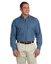 Harriton M550 Men 6.5 oz. Long Sleeve Denim Shirt at GotApparel