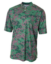 A4 N3263 Men Camo TwoButton Henley at GotApparel