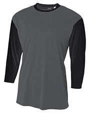 A4 N3294 Men Baseball Tee with 3/4 Sleeves at GotApparel