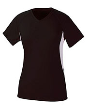 A4 Drop Ship NW3223 Women's Color Block Performance V-Neck Shirt at GotApparel