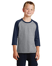 Port & Company PC55YRS Boys 50/50 Cotton/Poly 3/4Sleeve Raglan T-Shirt at GotApparel