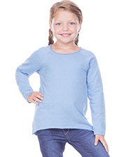 Girls 3-6X French Terry Raw Edge Raglan High-Low Long Sleeve at GotApparel