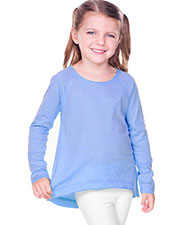 Girls 3-6X  Sheer Jersey Raw Edge Raglan High Low Long Sleeve at GotApparel