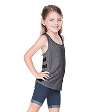 Girls 3-6X Sheer Jersey Cntrst Striped Back Knot-Back Tank at GotApparel