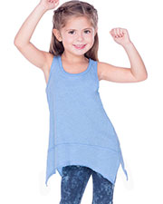 Girls 3-6X Sheer Jersey Scoop Neck Raw Edge Shark Bite Tank at GotApparel
