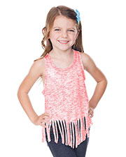 Girls 3-6X  Static Jersey Print Scoop Neck Raw Edge V Fringe Tank at GotApparel