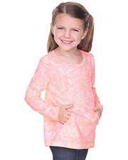 Girls 3-6X  Static Jersey Print Contrast Raw Edge Long Sleeve With Pouch at GotApparel