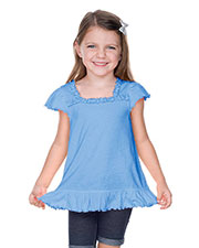Girls 3-6X Sheer Jersey Ruffle U-Neck Flutter Sleeve Top at GotApparel