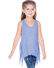 Girls 3-6X Sheer Jersey Asymmetrical Side Fringe Tank at GotApparel