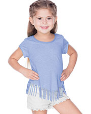 Girls 3-6X Sheer Jersey Raw Edge V Fringe Short Sleeve at GotApparel