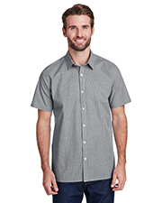 Artisan Collection by Reprime RP221 Men s Microcheck Gingham Short-Sleeve Cotton Shirt at GotApparel