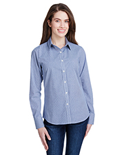 Artisan Collection by Reprime RP320 Women Ladies' Microcheck Gingham Long-Sleeve Cotton Shirt at GotApparel