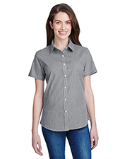 Artisan Collection by Reprime RP321 Women Ladies' Microcheck Gingham Short-Sleeve Cotton Shirt at GotApparel