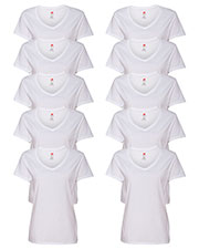 Hanes S04V Women 4.5 Oz. 100% Ringspun Cotton Nano-T V-Neck T-Shirt 10-Pack at GotApparel